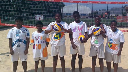 St Bon's boys with their self-designed beach volleyball kit.