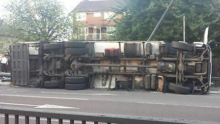 The overturned lorry on the Redbridge Roundabout/A12 Easter Avenue, taken by JGPhoto.