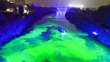 Artists Bompas & Parr turn the River Lea green at theOpen East Festival is commissioned by the Ba