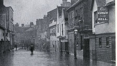 High tide receding from the High Street, August 1888. Credit: Brian Evans