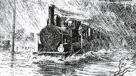 The railway line was also submerged and the water so deep that it put out fires in the engines, brin