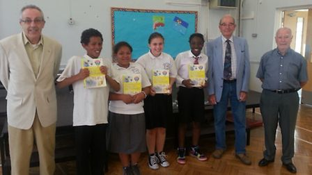 Four of the new proud owners of the dictionaries, from left, Kerran Browne, Chanice Edwards, Bayleig