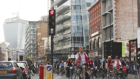 London cyclists join the London Cycling Campaign protest ride calling on the Mayor to provide dedica