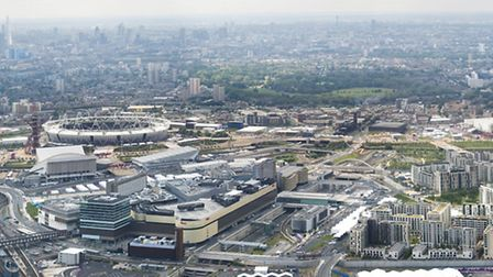 Panoramic image showing view looking west across Queen Elizabeth Olympic Park. Picture taken by Anth