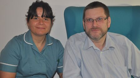 Research nurse Elisa Visentin is pictured with patient David Downes