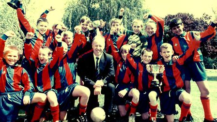 Graham Robson with the 1995/6 football squad he coached to become London's top primary school team