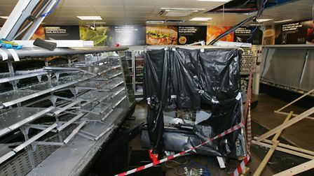 Some of the interior damage to the shop