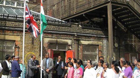 Flag-raising marking India Independence Day at the Upton Centre.