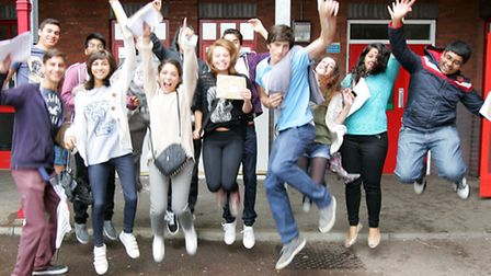 King Solomon High School students jumping for joy this morning after collecting their GCSE results