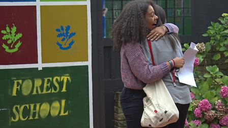 Two Forest School pupils hug after getting their GCSE results
