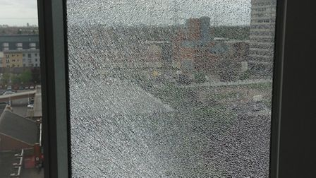 One of the shattered windows at Pioneer Point