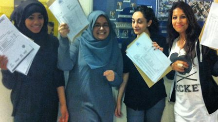 Nimra Zaman, Faiza Jannath Khan, Husna Khan, and Ahlam Muridi from Sarah Bonnell School with their r