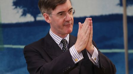 Jacob Rees-Mogg MP speaking to supporters during a Conservative Voice meeting, in the Boothroyd Room