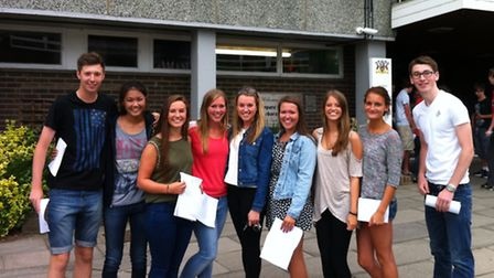 Students with their AS results at Coopers' Company and Coborn School.