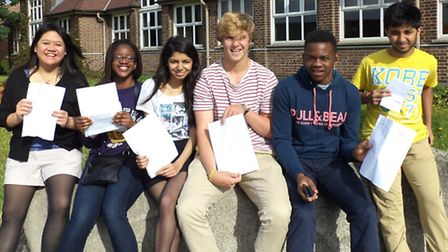 Students at Seven Kings High School looking pleased after collecting their results last year
