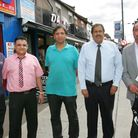 Khalid Hussain (second right) with Ilford Lane traders who have seen a surge in business during Eid