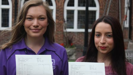 Hannah McAuliffe (left) and friend Kirsty Wells with their results at the Frances Bardsley Academy i