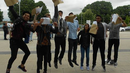 Students at Loxford School of Science and Technology celebrate their grades