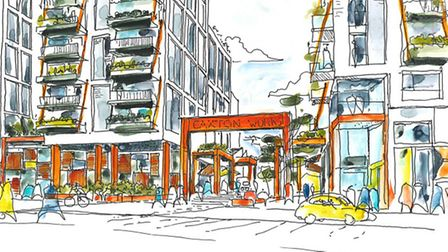 An artist's impression of the Caxton Works development