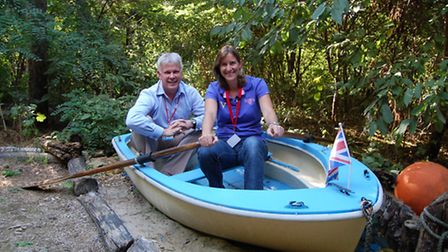 Katherine Grainger with Richard House chief executive Peter Ellis in the Richard House grounds