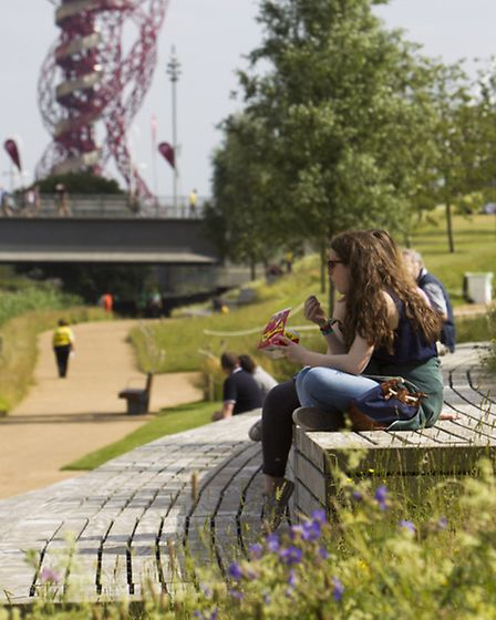 Visitors enjoying the Queen Elizabeth Olympic Park during the weekend of Hard Rock Calling concerts