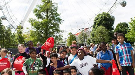 Students on the Discover Story Centre summer school programme visiting the London Eye.