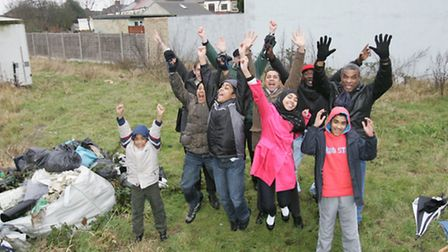Kids and residents jump for joy on the land that will be the Vicarage Lane Play Park