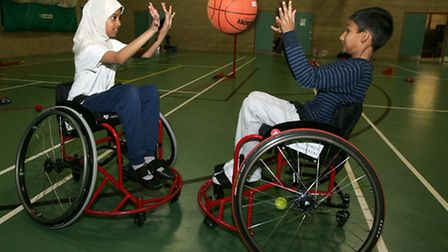 Disabled multisports at the Frenford Clubs for Young People, Yusra Hussein, and Tobias Yasin,