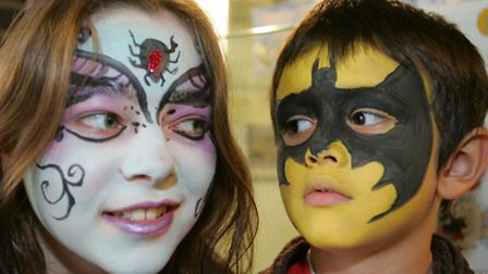 Ruth Burr and Sami Christy-Miah with their creepy painted faces