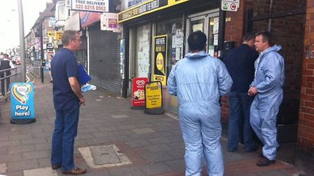 Police at the scene of the attempted armed robbery