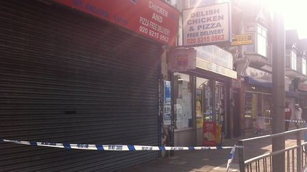 The police cordon in Chadwell Heath this afternoon