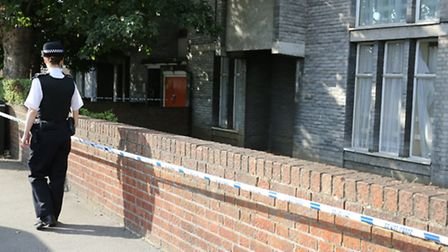 A police cordon outside Bedwell Court, Broomfield Road