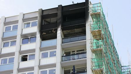 Fire damage can be seen from outside in Liston Way.