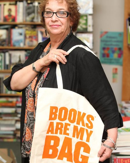 Newham Bookshop manager Vivian Archer promotes the reading campaign Books are my Bag.