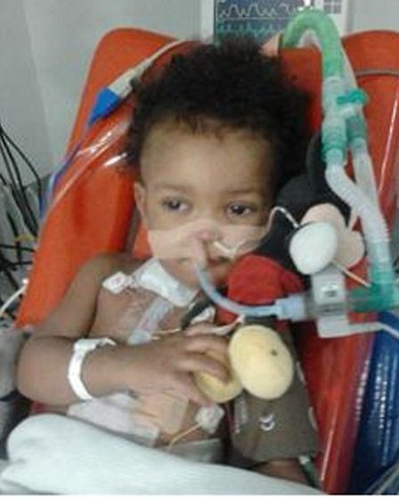 Zikora undergoing treatment in Great Ormond Street Hospital when he was just over a year old.
