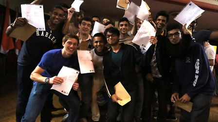 Ilford County High School students receiving their A-Level results