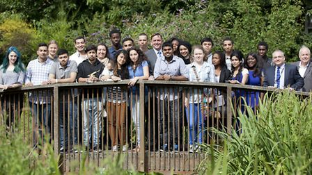 Students from New VIc college with staff and Newham Mayor Sir Robin Wales