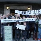 Residents staged a demonstration against the council's plans at an earlier meeting