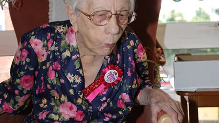 Winifred Goodbody celebrating her 107th birthday at Birchwood Care Home.