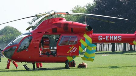 The patient was taken away by air ambulance