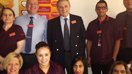 Lee Scott MP with staff from Sainsbury's Barkingside