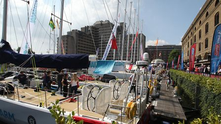 Clipper yachts arrive in St Katharine Docks in prepartion for the Round the World Yacht Race.