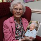Renne Underhill with her birthday card from the Queen