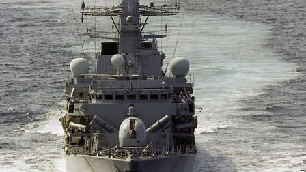 HMS Sutherland, a Type 23 frigate, will be the first of three Royal Navy ships to arrive Picture: Ro