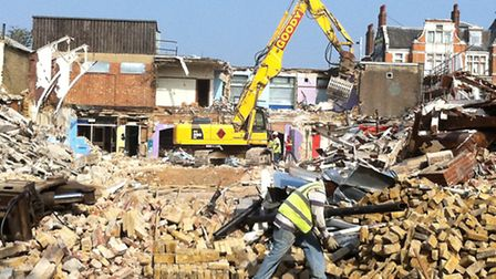 The former swimming pool is being demolished
