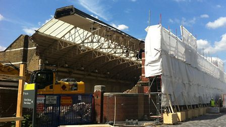 Workmen have started demolishing the former pool from the rear of the building