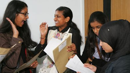 Students celebrate their results at Loxford School of Sciene and Technology