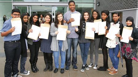 Students with their grades at Loxford School of Sciene and Technology