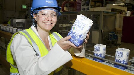 Reporter Else Kvist at the production line in the Tate&Lyle Sugars refinery in Silvertown.