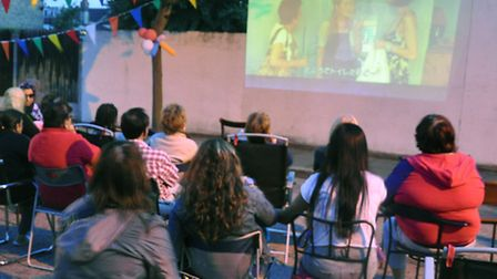 The outdoor cinema at the Mini Arts Festival in Toronto Road, Ilford. Photo: Ray Sparra Everingham